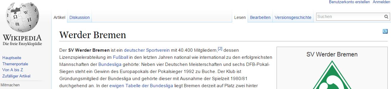 Wetten auf Werder Bremen - Werder Bremen auf Wikipedia