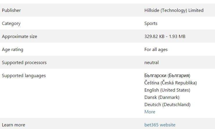 bet365 - Microsoft Store info