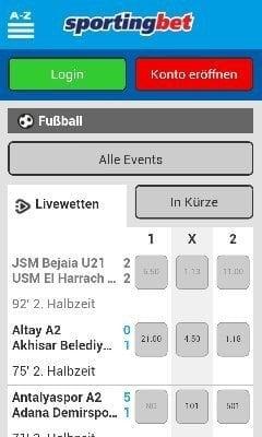 sportingbet app auf mobiltelefon