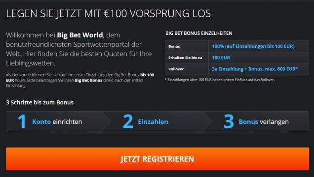 Big Bet Bonus - 100% Willkommensbonus I Big Bet World