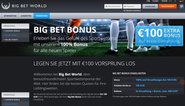 Big Bet Bonus - 100% Willkommensbonus I BigBetWorld