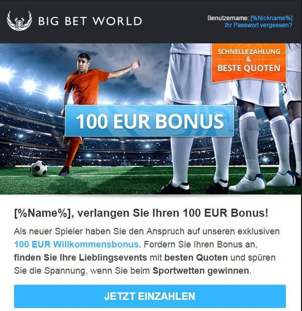 big bet world kundensupport email bonus