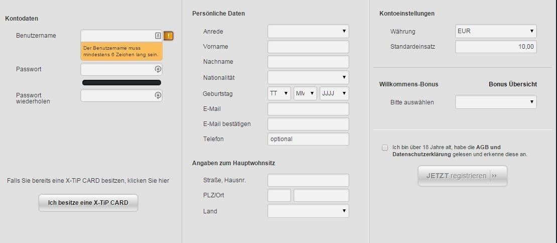 Konto registrieren I Kostenloses Wettkonto bei X-TiP
