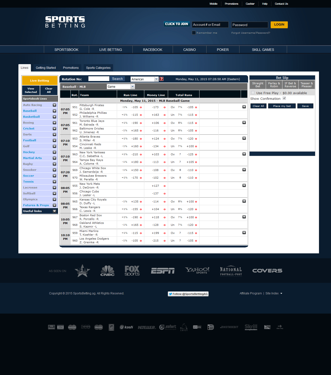sportsbetting screen