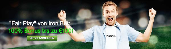100% bis zu 100€ gibt es für Neukunden bei Ironbet auf die erste Einzahlung