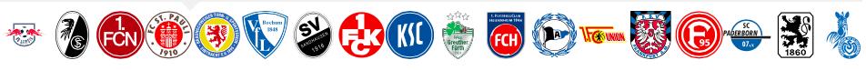 Die 18 Vereine der 2. Bundesliga in der Saison 2015/16