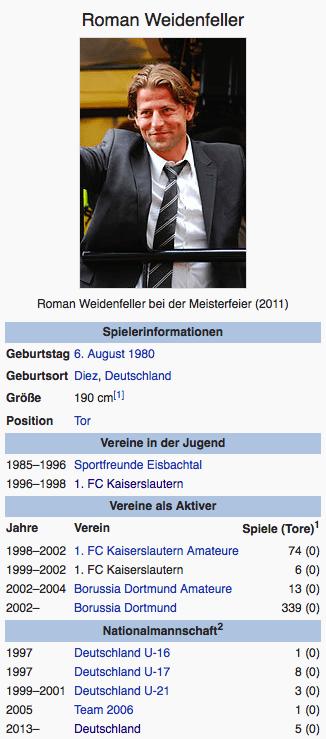 Screenshot Roman Weidenfeller / Wikipedia