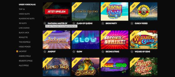 Das Casino beinhaltet einige Top-Spiele