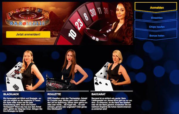Angeboten werden ein Casino und ein Live Casino