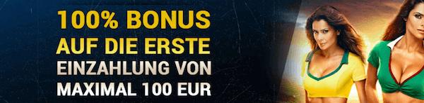 Der 1XBet Bonus wird bis zu einer Summe von 100 Euro ausgezahlt