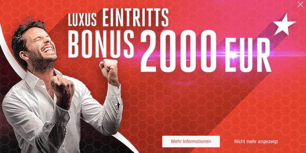 Doxxbet bietet einen Bonus von bis zu 2.000 Euro