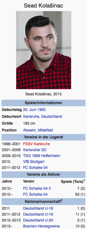Screenshot Sead Kolasinac / Wikipedia