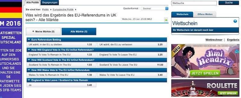 Brexit Wetten: William Hill sieht einen Verbleib in der EU