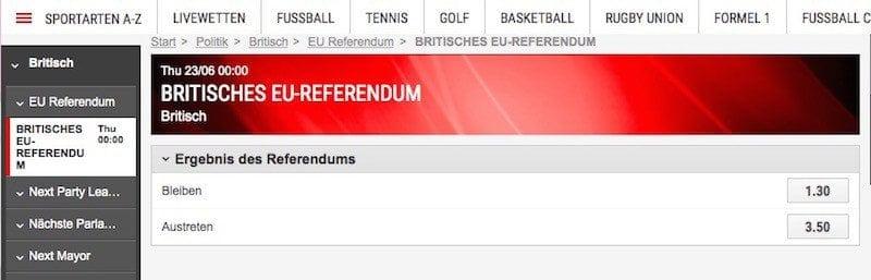 wettquoten brexit