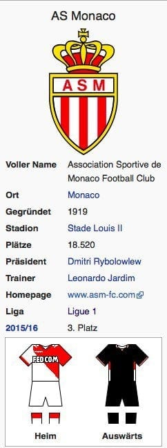 AS Monaco / Screenshot Wikipedia