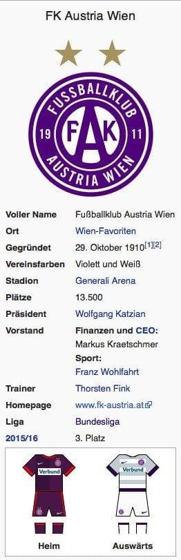Austria Wien / Screenshot Wikipedia