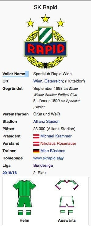 Rapid Wien / Screenshot Wikipedia