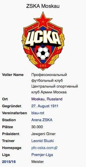 ZSKA Moskau / Screenshot Wikipedia