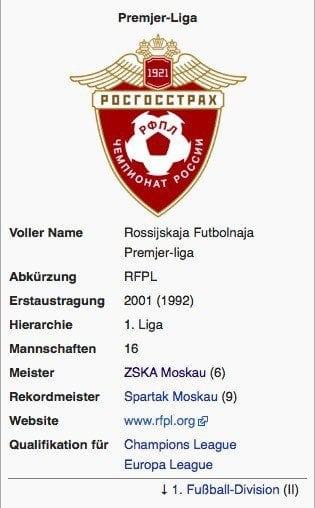 Premjer Liga / Screenshot Wikipedia