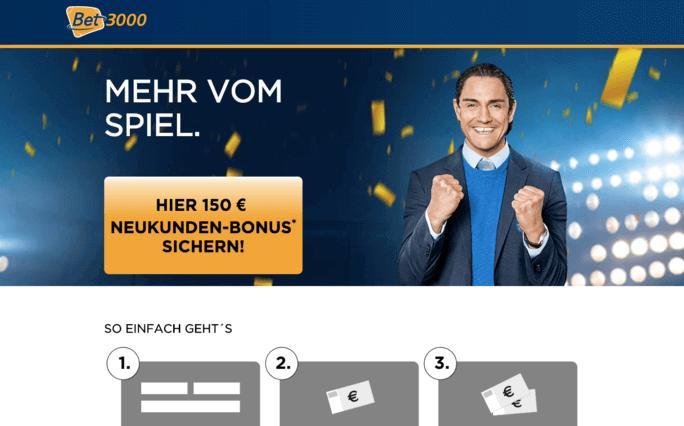 Bis zu 150 Euro bietet Bet3000 seinen neuen Kunden aus Deutschland, Österreich und der Schweiz