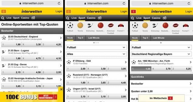 Interwetten - mobiles Wettangebot