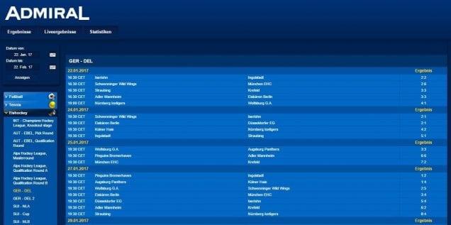 admiral sportwetten Eishockey Ger-Del Ergebnisse