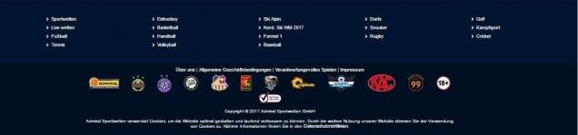 admiral sportwetten Sportarten und Sponsoren