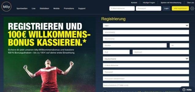 btty Willkommensbonus Registrierung