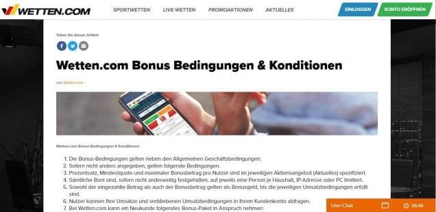 wetten-com 120 Euro Bonusbedingungen