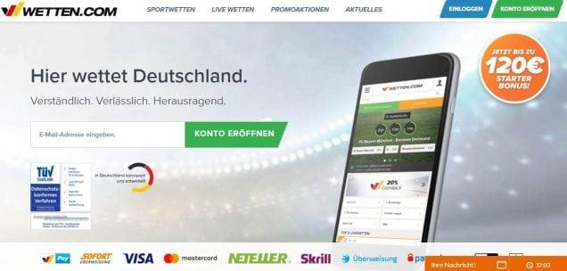 wetten-com 120 Euro Starter Bonus