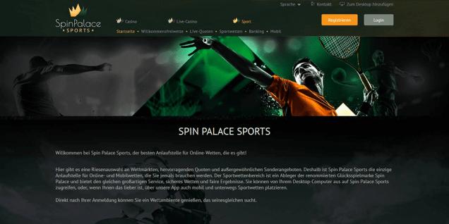 Spin Palace Sports Startseite